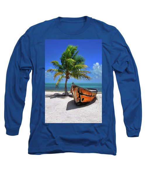 Small Boat And Palm Tree On White Sandy Beach In The Florida Keys Long Sleeve T-Shirt