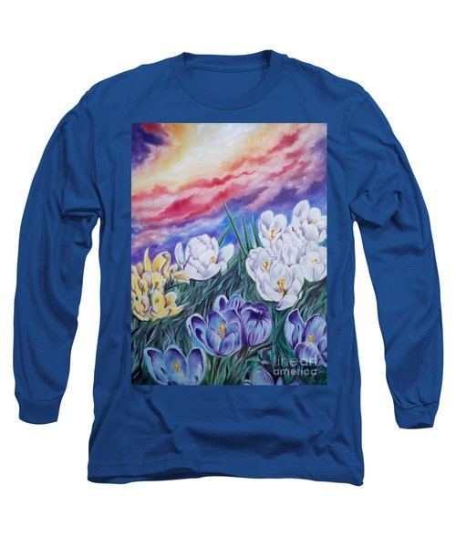 Long Sleeve T-Shirt featuring the painting Snow Crocus by Sigrid Tune