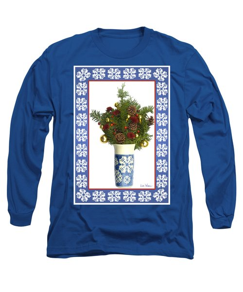 Long Sleeve T-Shirt featuring the digital art Snowflake Vase With Christmas Regalia by Lise Winne
