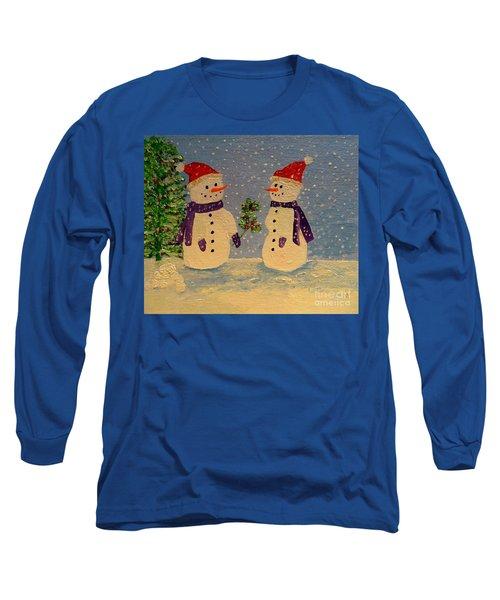 Snow-people At Christmas Long Sleeve T-Shirt