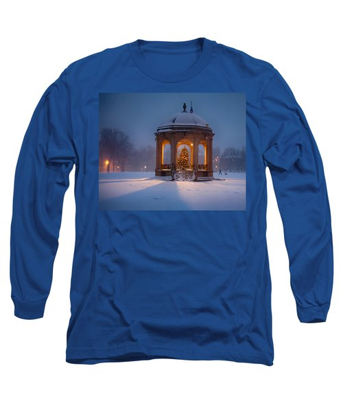 Snowy Night On The Salem Common Long Sleeve T-Shirt