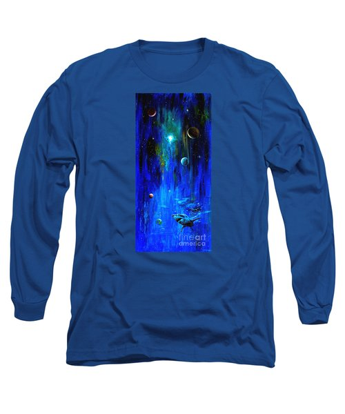 Space Shark Long Sleeve T-Shirt by Arturas Slapsys