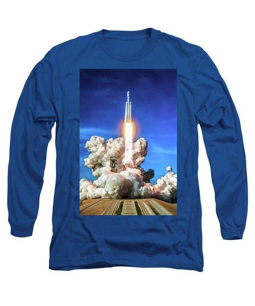 Spacex Falcon Heavy Rocket Launch Long Sleeve T-Shirt