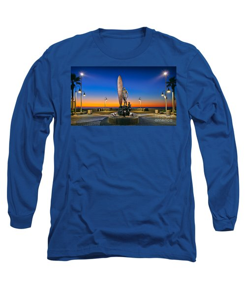 Spirit Of Imperial Beach Surfer Sculpture Long Sleeve T-Shirt