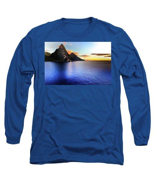 Long Sleeve T-Shirt featuring the photograph St. Lucia's Cobalt Blues by Karen Wiles