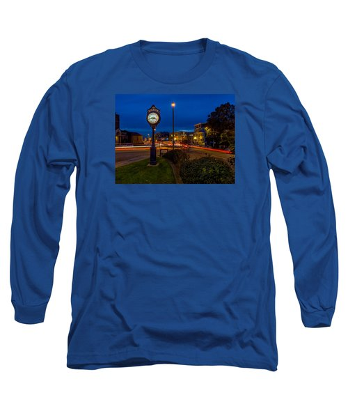 Long Sleeve T-Shirt featuring the photograph Stadium Clock During The Blue Hour by Rob Green