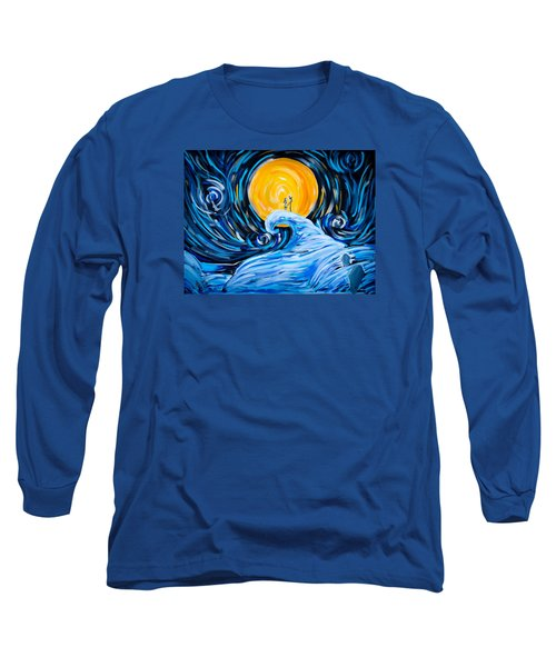 Starry Spiral Hill Night Long Sleeve T-Shirt by Marisela Mungia