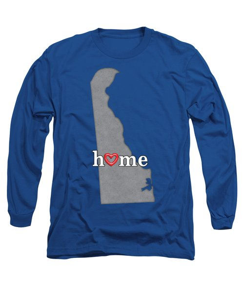 State Map Outline Delaware With Heart In Home Long Sleeve T-Shirt