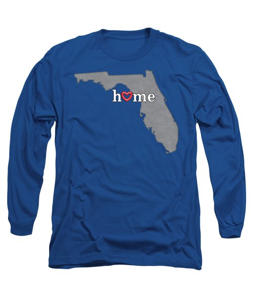 State Map Outline Florida With Heart In Home Long Sleeve T-Shirt by Elaine Plesser