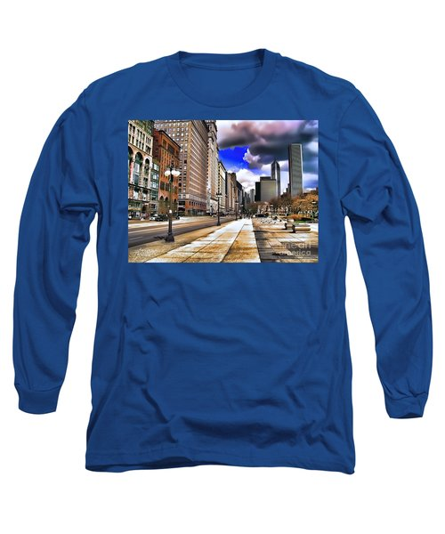 Long Sleeve T-Shirt featuring the digital art Streets Of Chicago by Kathy Tarochione