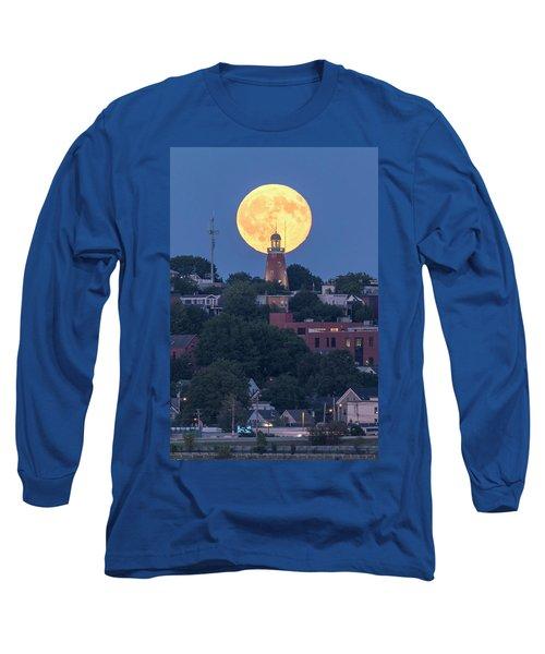 Sturgeon Moon Over Portland Observatory Long Sleeve T-Shirt