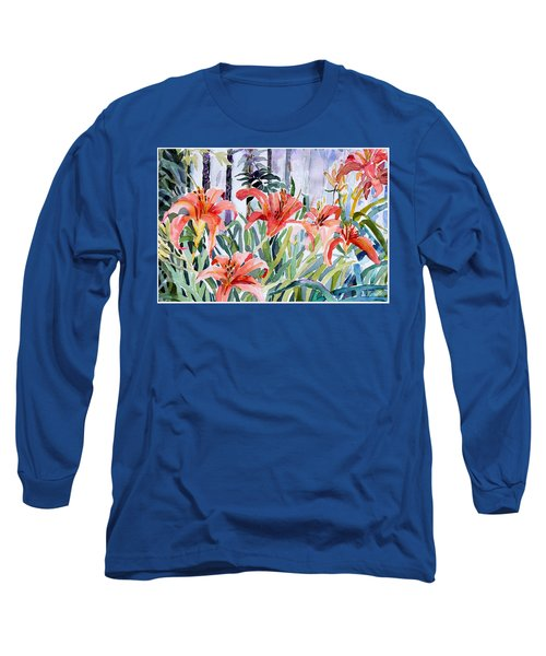 My Summer Day Liliies Long Sleeve T-Shirt by Mindy Newman