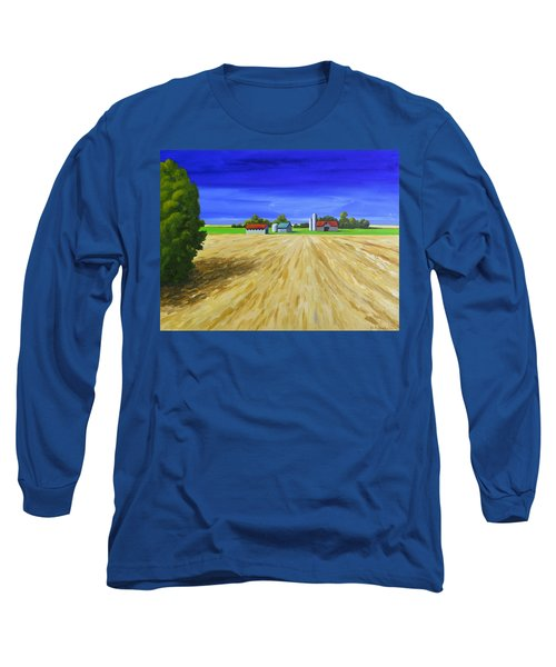 Long Sleeve T-Shirt featuring the painting Sunny Fields by Jo Appleby
