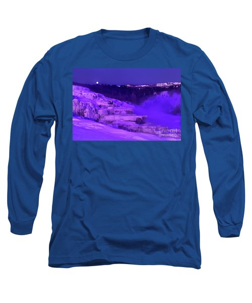 Sunrise And Moonset Over Minerva Springs Yellowstone National Park Long Sleeve T-Shirt