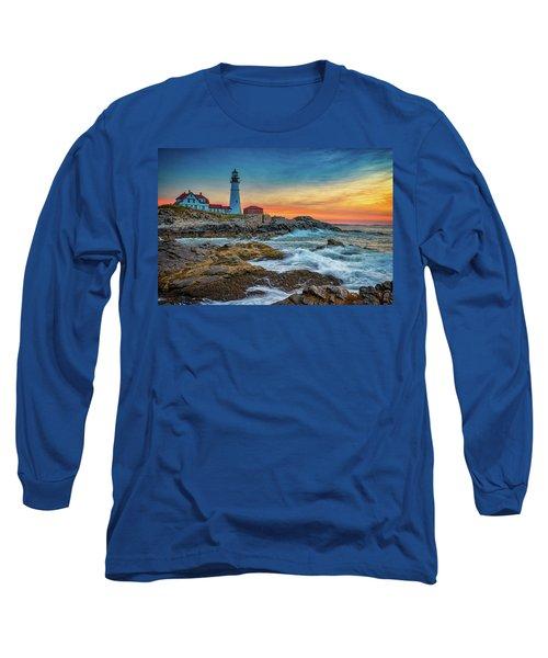 Sunrise At Portland Head Light Long Sleeve T-Shirt