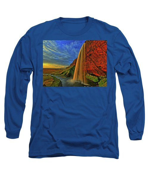 Long Sleeve T-Shirt featuring the photograph Sunset At The Falls by Scott Mahon