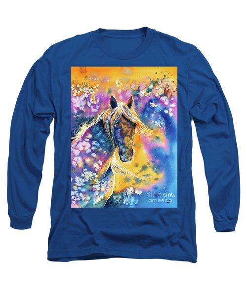 Long Sleeve T-Shirt featuring the painting Sunset Mustang by Zaira Dzhaubaeva