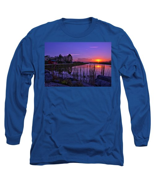 Sunset Over Hungryland Wildlife Management Area Long Sleeve T-Shirt by Justin Kelefas