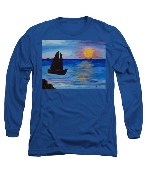 Sunset Sail Dark Long Sleeve T-Shirt by Barbara McDevitt