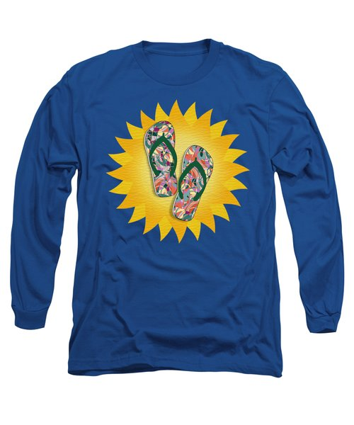 Sunshine And Colorful Abstract Flip-flops  Long Sleeve T-Shirt