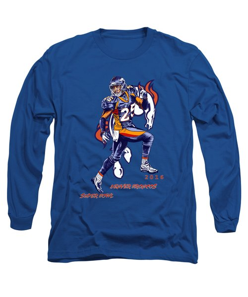 Long Sleeve T-Shirt featuring the drawing Super Bowl 2016  by Andrzej Szczerski