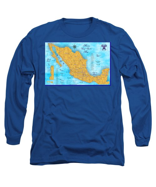 Mexico Surf Map  Long Sleeve T-Shirt