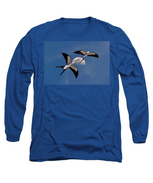 Swallow Tail Kites In Flight Under Moon Long Sleeve T-Shirt