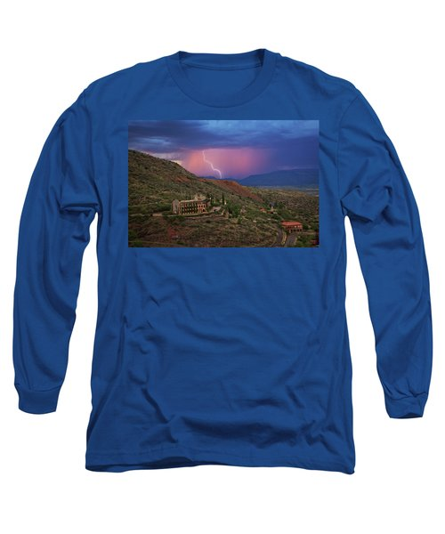 Long Sleeve T-Shirt featuring the photograph Sycamore Canyon Lightning With Little Daisy by Ron Chilston