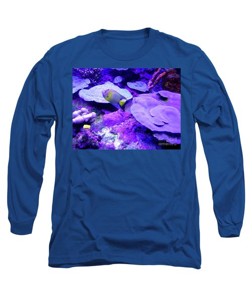 Long Sleeve T-Shirt featuring the photograph Ta Purple Coral And Fish by Francesca Mackenney