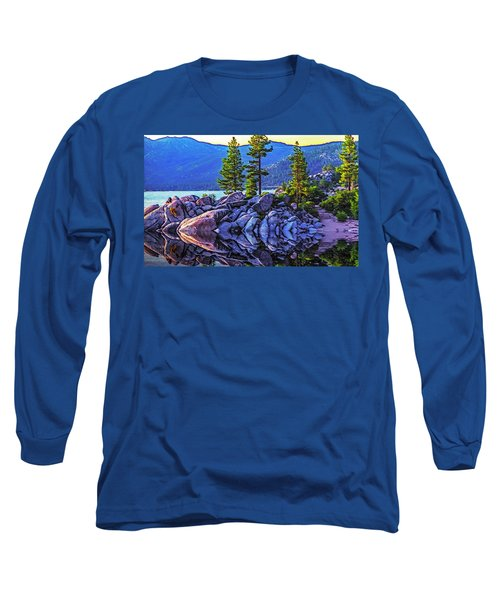 Tahoe Water Reflections Long Sleeve T-Shirt by Nancy Marie Ricketts
