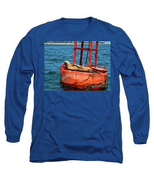 Long Sleeve T-Shirt featuring the photograph Tanning Sea Lion On Buoy by Mariola Bitner