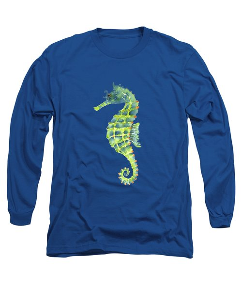 Teal Green Seahorse - Square Long Sleeve T-Shirt by Amy Kirkpatrick