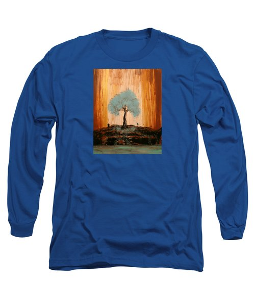 Teal Turquoise Tree Long Sleeve T-Shirt