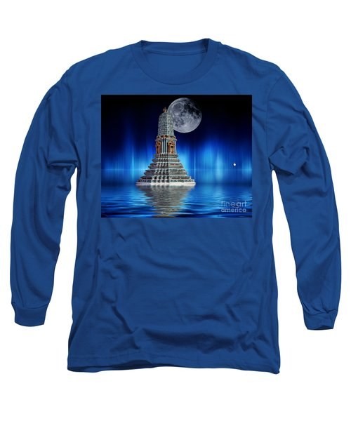 Temple Of The Moon Long Sleeve T-Shirt by Shirley Mangini