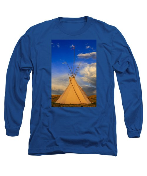 Tepee At Sunset In Montana Long Sleeve T-Shirt by Chris Smith