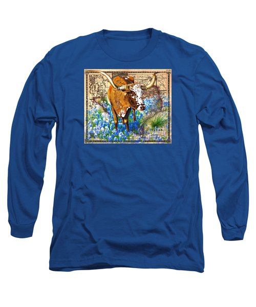 Texas Longhorn In Bluebonnets Long Sleeve T-Shirt
