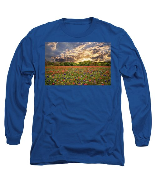 Texas Wildflowers Under Sunset Skies Long Sleeve T-Shirt