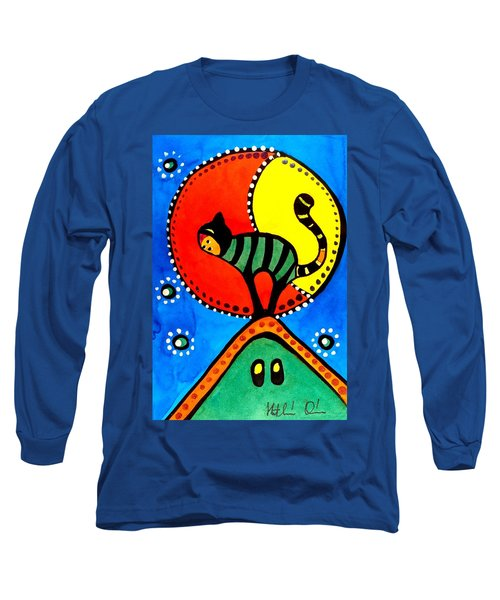 The Cat And The Moon - Cat Art By Dora Hathazi Mendes Long Sleeve T-Shirt by Dora Hathazi Mendes