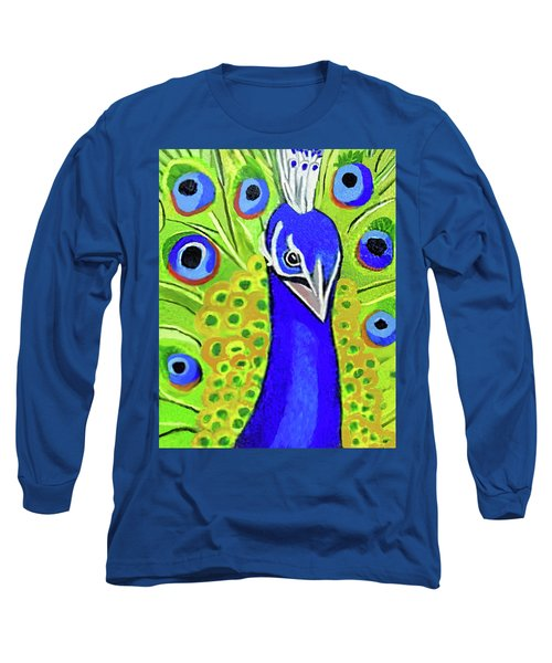 The Face Of A Peacock Long Sleeve T-Shirt by Margaret Harmon