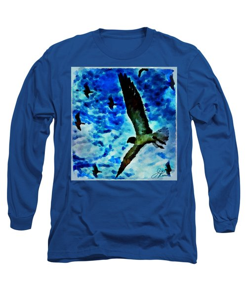 Long Sleeve T-Shirt featuring the painting The Great Seagull by Joan Reese