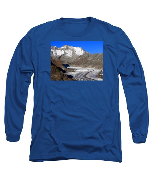 The Large Aletsch Glacier In Switzerland Long Sleeve T-Shirt