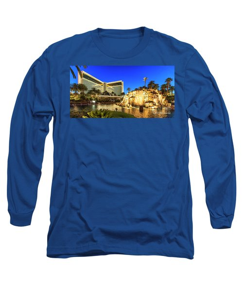 The Mirage Casino And Volcano At Dusk Long Sleeve T-Shirt by Aloha Art