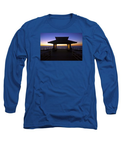 The Naples Pier At Twilight - 02 Long Sleeve T-Shirt by Robb Stan