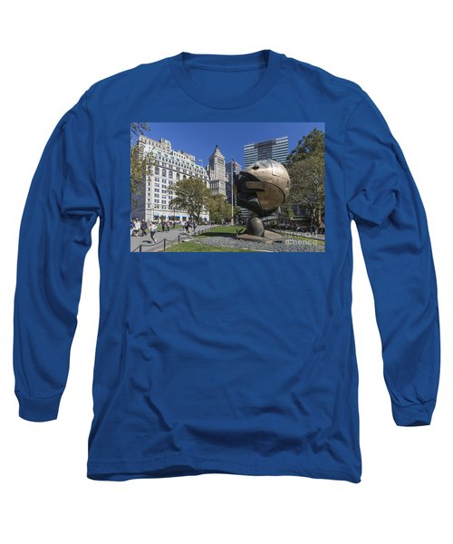 Long Sleeve T-Shirt featuring the photograph The Sphere Batterie Park Nyc by Juergen Held