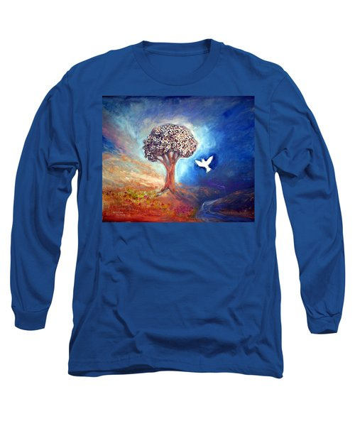 Long Sleeve T-Shirt featuring the painting The Tree by Winsome Gunning