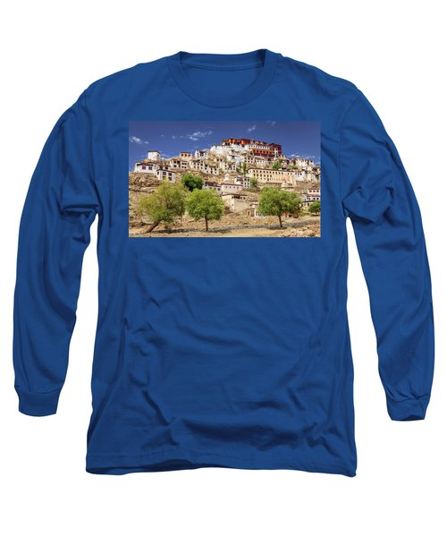 Long Sleeve T-Shirt featuring the photograph Thikse Monastery by Alexey Stiop