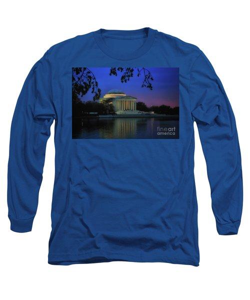 Thomas Jefferson Memorial Sunset Long Sleeve T-Shirt by Elizabeth Dow