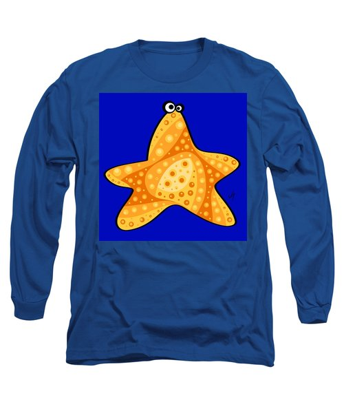 Long Sleeve T-Shirt featuring the painting Thoughts And Colors Series Starfish by Veronica Minozzi
