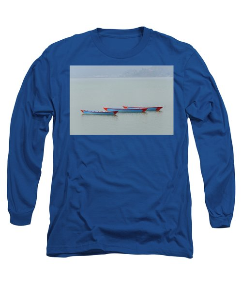 Three Blue Boats On Phewa Lake In Pokhara Long Sleeve T-Shirt
