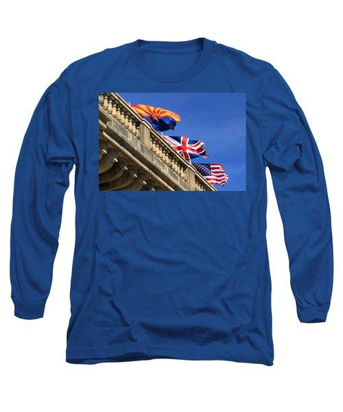 Three Flags At London Bridge Long Sleeve T-Shirt by James Eddy